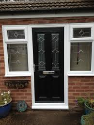 black single front doors. Decorations:Country Single Swing Black Front Doors With Small Pair Of White Windowed Feat Brick