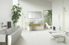 bathroom: Appealing Pure White Color Furniture With Best Long Bathub Inside  Green Indoor Bathroom Plant