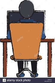 Laptop Chair Desk Cartoon Guy Back Working Laptop Chair Desk Stock Vector Art
