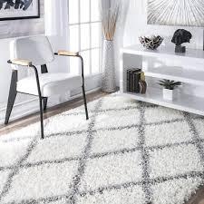 nuloom cozy soft and plush diamond trellis area rug white 4 x