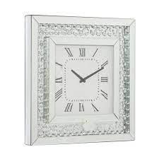 litton lane silver wood glam wall clock