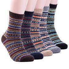 Mens <b>Winter Warm</b> Wool 5 pairs Crew <b>Cute</b> Socks Mixed Color ...