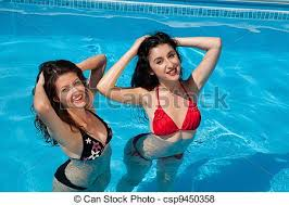swimming pool with friends. Perfect Swimming Girlfriends In The Swimmingpool  Csp9450358 For Swimming Pool With Friends F
