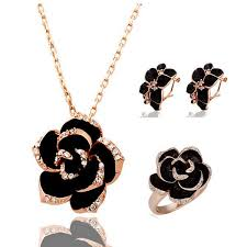 2019 <b>New</b> Fashion Rose Flower <b>Enamel</b> Jewelry Set Gold Color ...