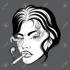 Vector Portrait Of Young Woman With Cigarette Made In Hand Sketched