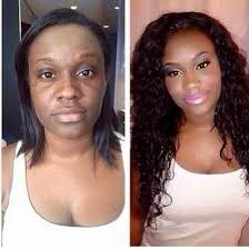 as you can see both of these women look totally diffe after the makeup and weaves were applied so much so that they almost look like two diffe