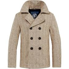 brandit vintage mens pea coat classic windproof wool