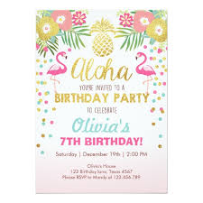 Birthday Party Invitation Flamingo Party Invitation Tropical Birthday Luau Zazzle Com
