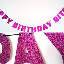 happy birthday glitter banner wall decoration garland sparkly pink