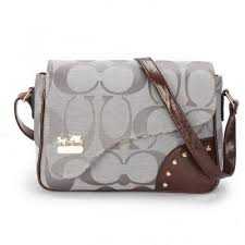 Coach Stud In Signature Medium Grey Crossbody Bags AYV