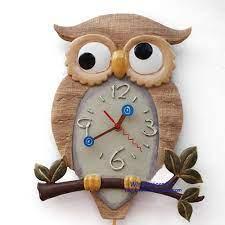 owl clock cartoon wall wall clock