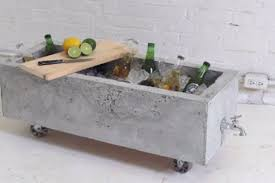 diy concrete planter doubles as an chic drink cooler huffpost