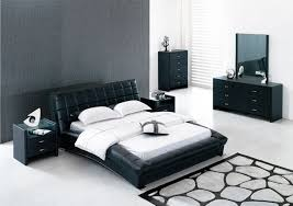 Delighful Black Modern Bedroom Furniture Leather For Contemporary Sets With Painted Intended Ideas
