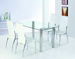 ... Dining Tables, Captivating Silver Rectangle Modern Metal Dining Table  Glass Varnished Design: Glamorous dining