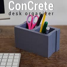 Desk Organizer 3dshook Concrete Desk Organizer