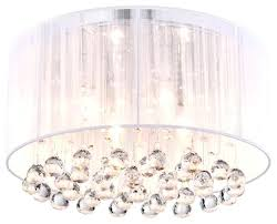 full size of home improvement crystal 4 light white drum shade chrome flush mount chandelier regarding