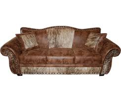 rustic fort sofa with cowhide fabric