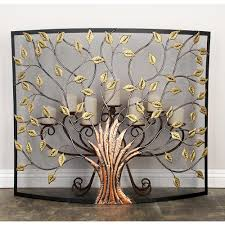 Unique fireplace screens Guard Litton Lane Rustic 1panel Fireplace Screen With Tree And Leaf Cutouts The Home Depot Litton Lane Rustic 1panel Fireplace Screen With Tree And Leaf Cut