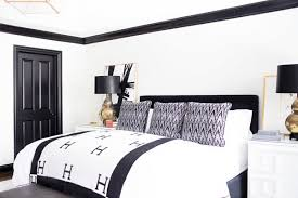 black furniture decor. Give Your Bedroom A Modern Glam Feel By Decorating With Black And White Color Scheme. Complete The Look Using Gold Accents In Decor. Furniture Decor