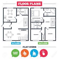 floor plan furniture vector. Vector. Architecture Plan With Furniture. House Floor Plan. Click Here Icons. Hand Cursor Signs Furniture Vector I
