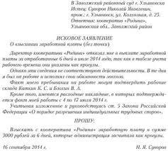 Языковое оформление личных документов Образцы заявлений Образец  Образец искового заявления в суд