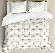 bedding with fleur de lis pattern. Wonderful Bedding Ambesonne Fleur De Lis Duvet Cover Set King Size Pattern  Vintage Stylized Inside Bedding With H