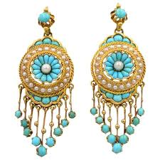 antique victorian 18 karat gold chandelier earrings with turquoise and pearl for