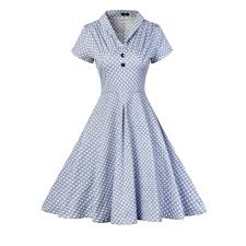 Retro Dress Patterns Enchanting Blue M Vintage Elegant Dot Print Summer Women Retro Dress Rosegal