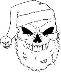 santa skull coloring page free