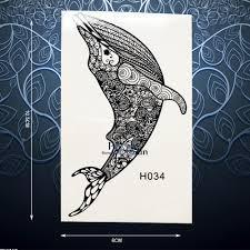одноразовые временные татуировки наклейки черный менди хной рыба