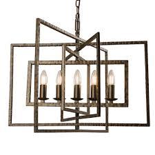 tibbet 5 light hammered bronze effect steel pendant light
