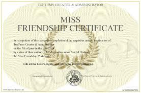 miss friendship certificate