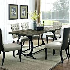 zinc top round dining table kitchen contemporary with black railway trestle