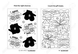 Here is a coloring sheet of mittens, the biggest enthusiast of snow. Two Visual Puzzles And Coloring Page For Kids Find The Shadow Royalty Free Cliparts Vectors And Stock Illustration Image 112659957