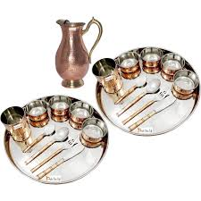prisha india craft b set of 2 dinnerware traditional stainless steel copper dinner set of