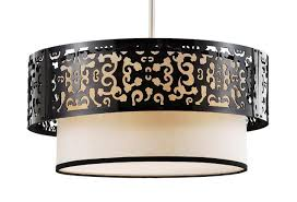 four lamp pendant with laser cut drum shade