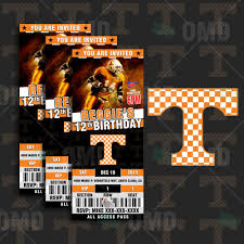 Tennessee Volunteers Football Seating Chart Tennessee Volunteers Ticket Style Sports Party Invitations
