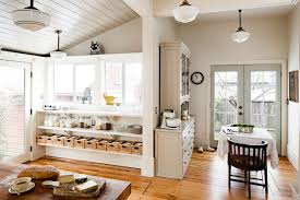 Superior Kitchen Dining Nook With French Doors Framed By Walls And Sloped Wood  Planked Ceiling Painted Pratt And Lambert Chalk Gray Over Light Hardwood  Floors.