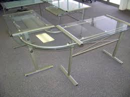 bedroomalluring glass top l shaped desk 24 enchanting desks office very attractive throughout home office desk with glass top6 office