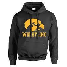 Wrestling University Logo Hawkeye Black Iowas - Of Block Hoodie