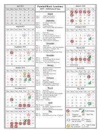 One Sheet Calendar 2020 School Year Calendar 2019 2020 Painted Rock Academy