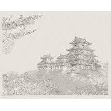 水彩でも楽しめる姫路白鷺城写図塗り絵 F6サイズ細密写実風景画