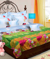 vtnd multicolour cotton winnie the pooh printed double bed sheet with 2 pillow cover