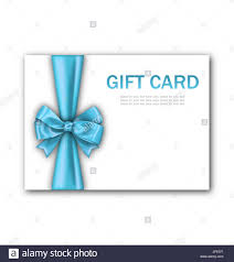 Blue Ribbon Template Illustration Decorated Gift Card With Blue Ribbon And Bow Gift
