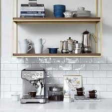 kitchen wood and brass french wall shelves