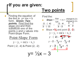 if you are given two points writing linear equations presentation mathematics sliderbase