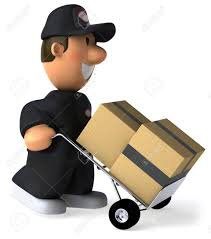 Cartoon Delivery Man Pushing A Trolley With Boxes Stock Photo ...
