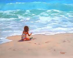 happiness 10x8 oil painting on canvas panel seascape with figure