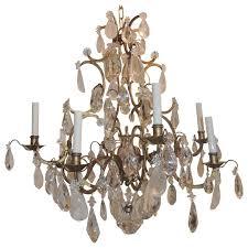 wonderful jansen gilt baguès gilt eight arm rock crystal prism large chandelier for