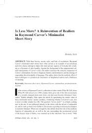 is less more a reinvention of realism in raymond carver s  a reinvention of realism in raymond carver s mini st short story pdf available